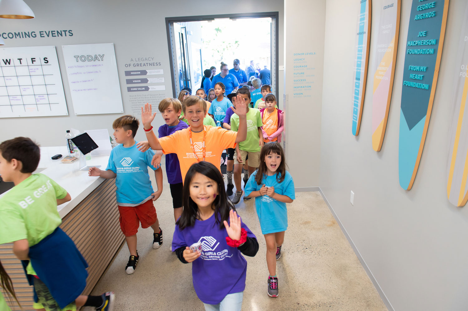 Club members entering newly renovated Boys & Girls Club of Newport Beach