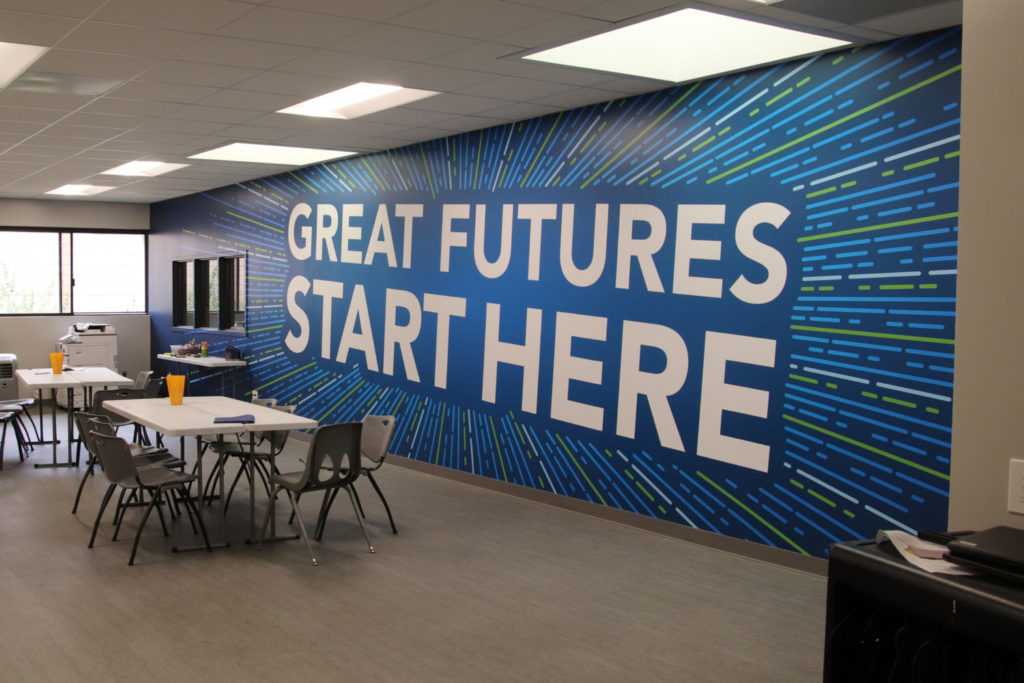 Great Futures Start Here wall graphic at the Boys & Girls Club of Irvine